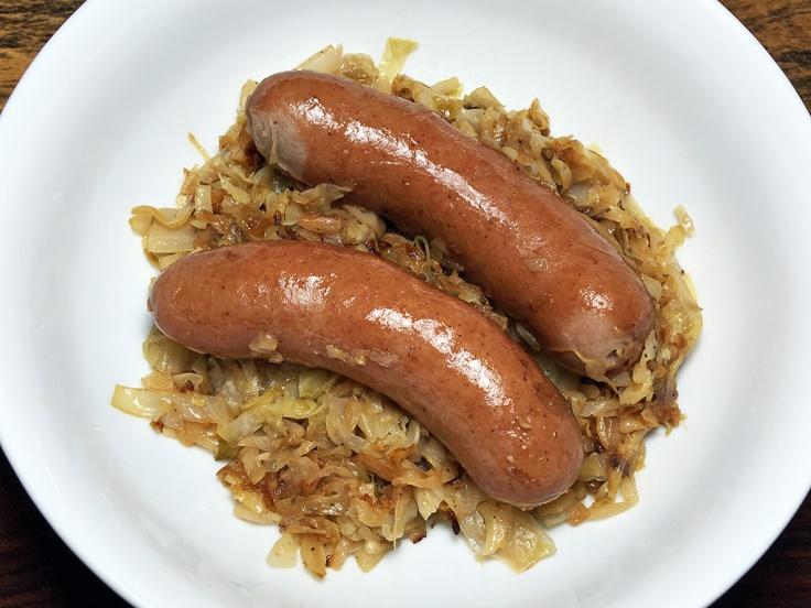 Man Fuel Food Blog - Knockwurst and Braised Cabbage