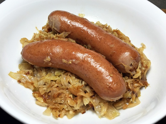 Man Fuel Food Blog - Knockwurst over Braised Cabbage