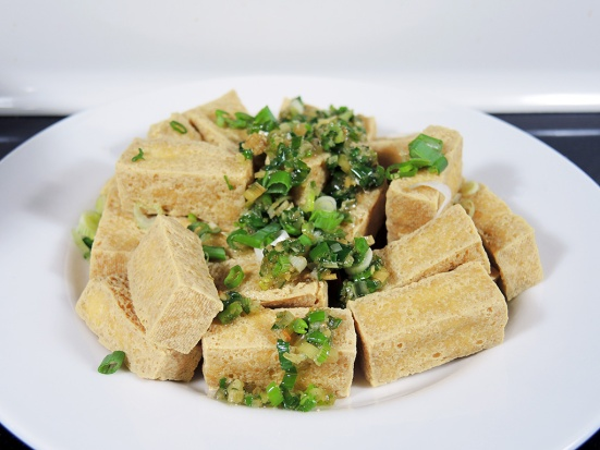 Fried Tofu Topped with Sauteed Scallions and Lemongrass