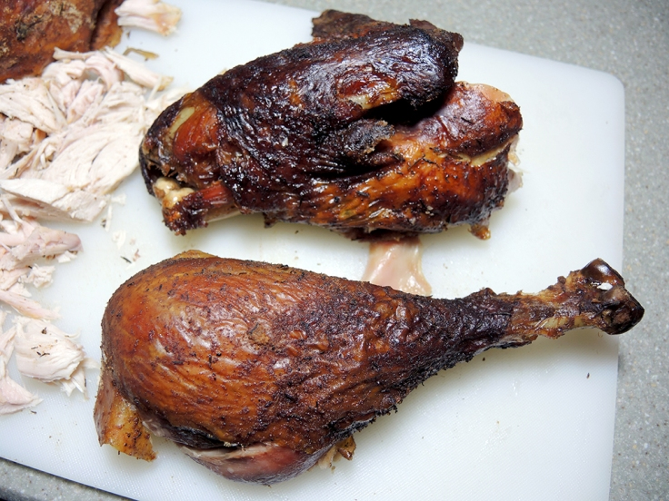 Home Is A Kitchen - Dry Brined and Smoked Whole Turkey Recipe - smoked whole turkey drumstick