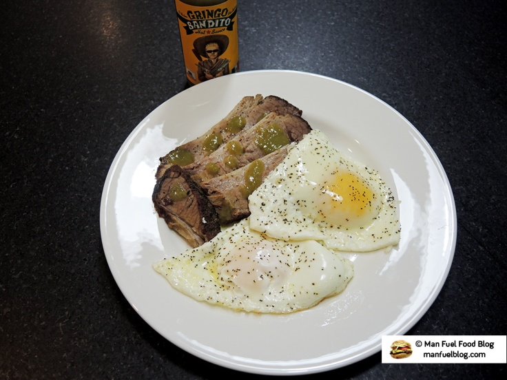 Man Fuel Food Blog - Gringo Bandito Hot Sauce Review - Green Salsa Over Brisket and Eggs