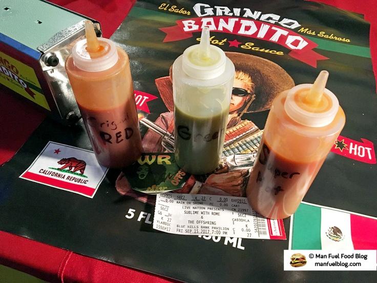 Man Fuel Food Blog - Gringo Bandito Hot Sauce Review - Red, Green, and Super Hot Samples