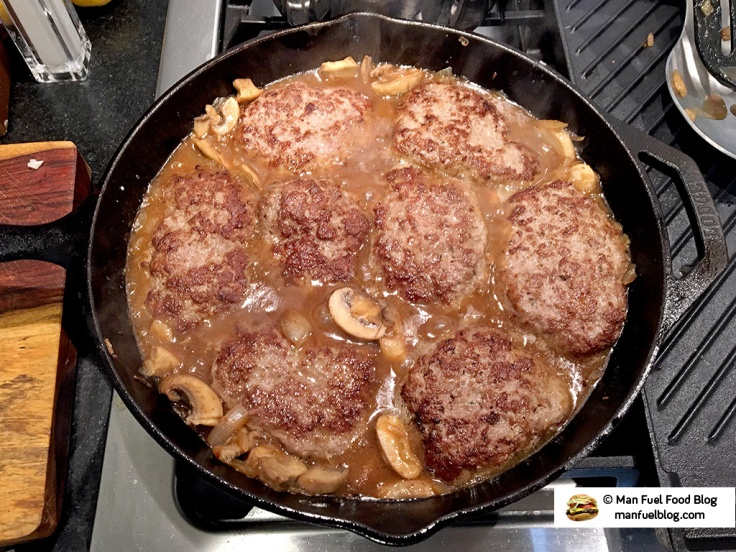 Man Fuel Food Blog - Salisbury Steak Recipe - Simmering in Gravy