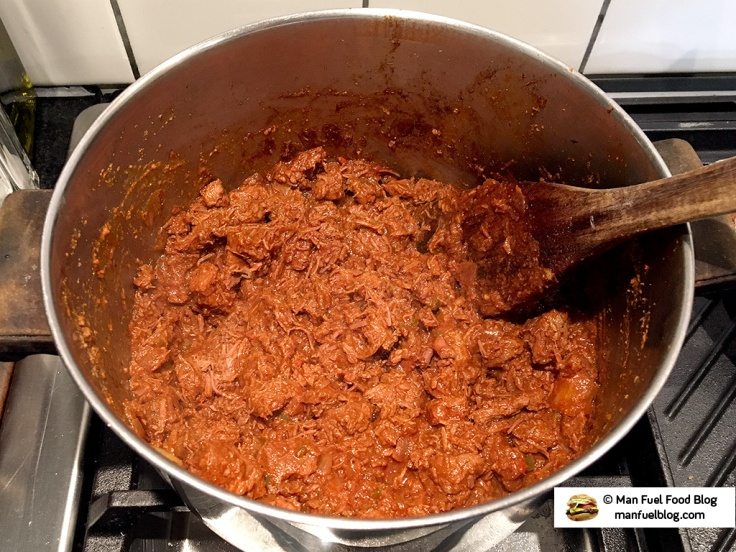 Man Fuel Food Blog - Texas Style Chili Recipe with Beer - Shredded in the Pot