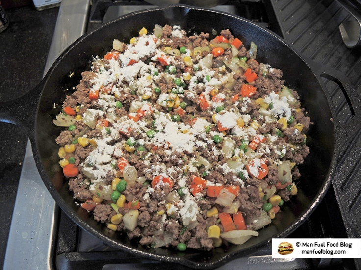 Man Fuel Food Blog - Shepherds Pie Ground Beef Filling with Flour