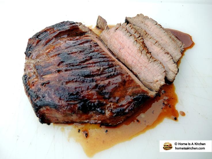 Home Is A Kitchen - Budweiser Steak Marinade Bag - Flank Steak Sliced