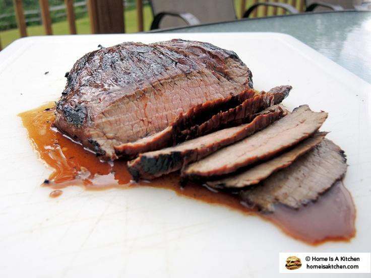 Home Is A Kitchen - Budweiser Steak Marinade Bag - Grilled Flank Steak Sliced