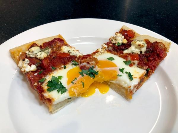 Home Is A Kitchen - Shakshuka Pizza - Cut in Half w Perfect yolk