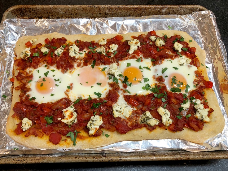 Home Is A Kitchen - Shakshuka Pizza - Finished and Garnished