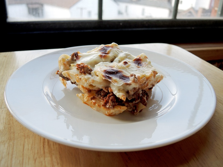 Home Is A Kitchen - One Piece of Macarona Bechamel or Pastitisio Recipe