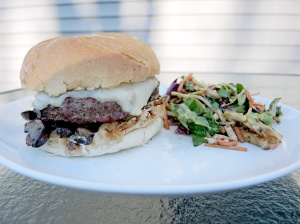 Home Is A Kitchen - Pub Style Burger Recipe with Mushrooms, Swiss, and Aioli