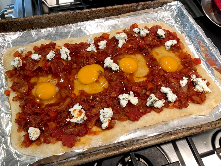 Home Is A Kitchen - Shakshuka Pizza - Eggs ready for baking