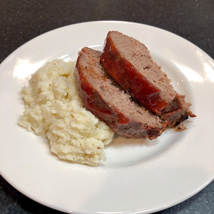 Home Is A Kitchen - Caramelized Onion Meatloaf Over Cauliflower Mash