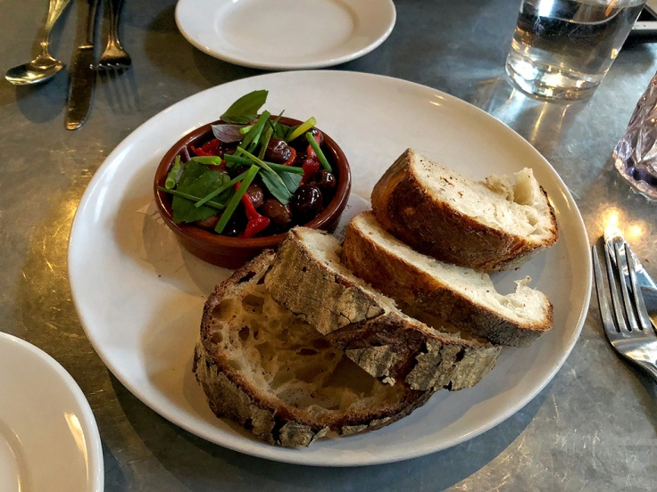 Home Is A Kitchen - Oberlin - Providence, RI - Marinated Olives, Peppers, Sourdough Bread