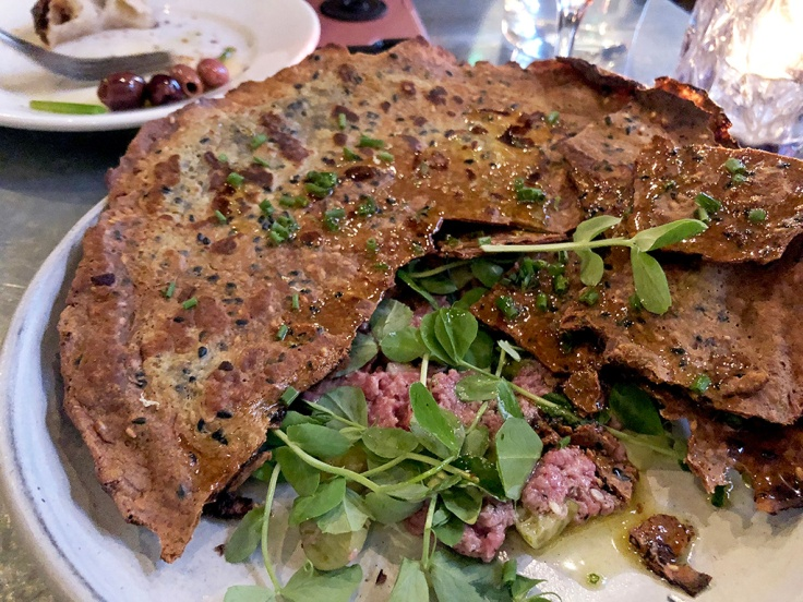 Home Is A Kitchen - Oberlin - Providence, RI - Beef Tartare, Cucamelons, Sorrel Mayo, Black Lime, Crunchy Duck Fat Crêpe