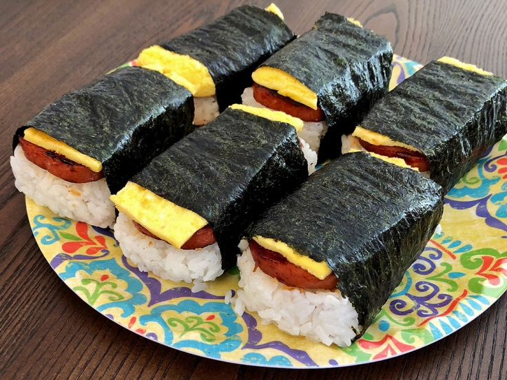 Home Is A Kitchen - SPAM Musubi Recipe - SPAM Musubi on a Plate